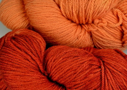 BFL superwash wool dyed with madder natural dye extract