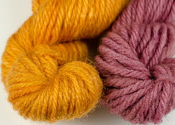wool dyed with brazilwood/sappanwood & chalk